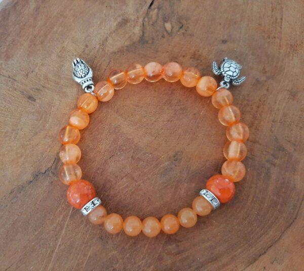Bracelet zen et tortue en calcite orange