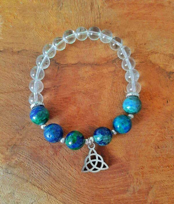 Bracelet wicca en chrysocolle et quartz