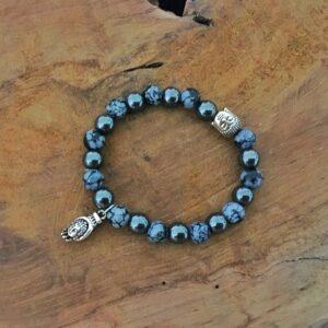 Bracelet Obsidienne neige et hématite