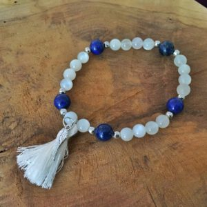 Bracelet perle de lune et lapis lazuli